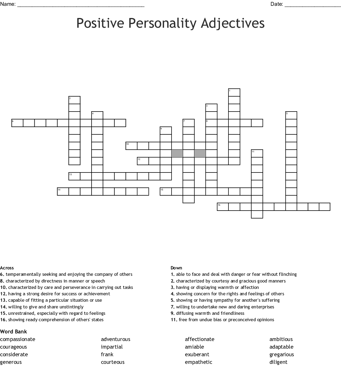 Positive Personality Crossword