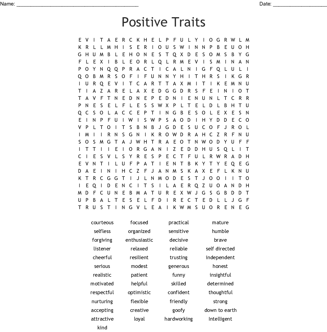Positive Behavior Word Search