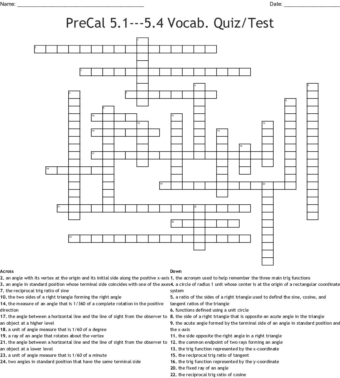 Precal 5 1 5 4 Vocab Quiz Test Crossword
