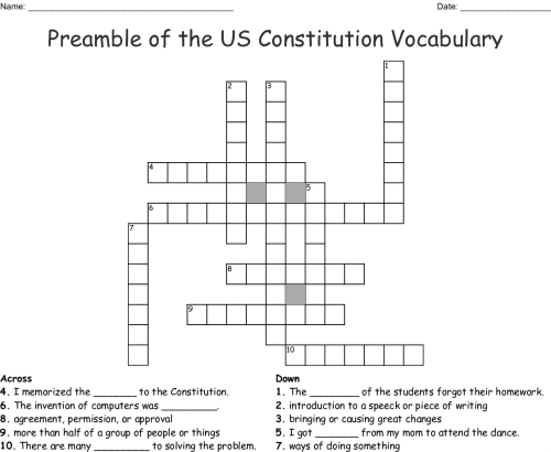 small resolution of preamble of the us constitution vocabulary crossword
