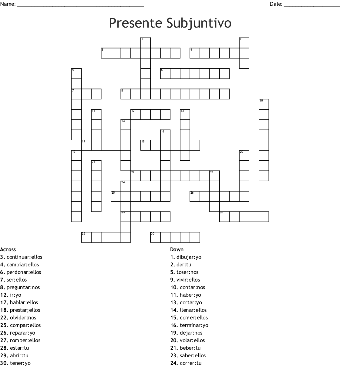 Presente Del Subjuntivo Word Search