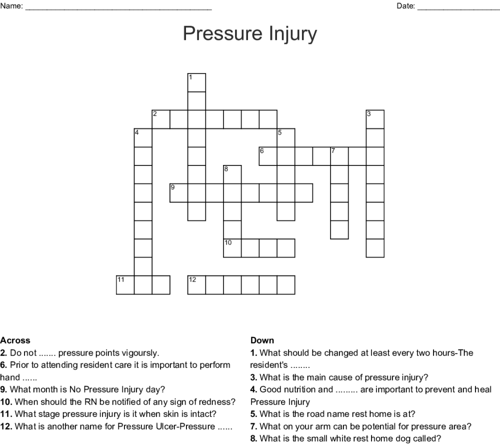medium resolution of pressure injury crossword