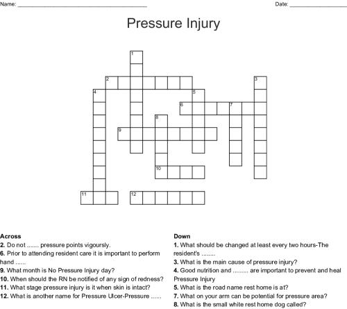 small resolution of pressure injury crossword
