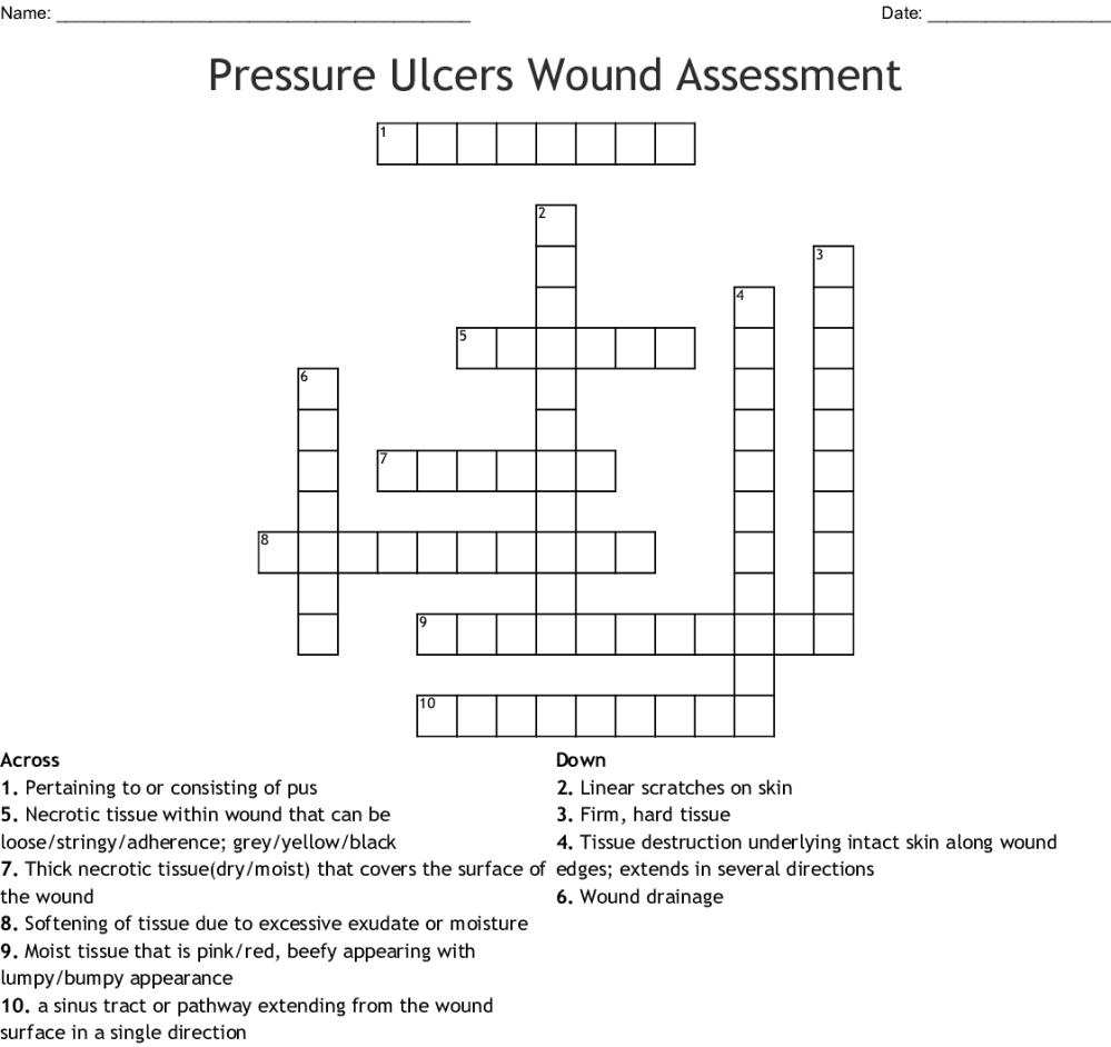 medium resolution of pressure ulcers wound assessment crossword