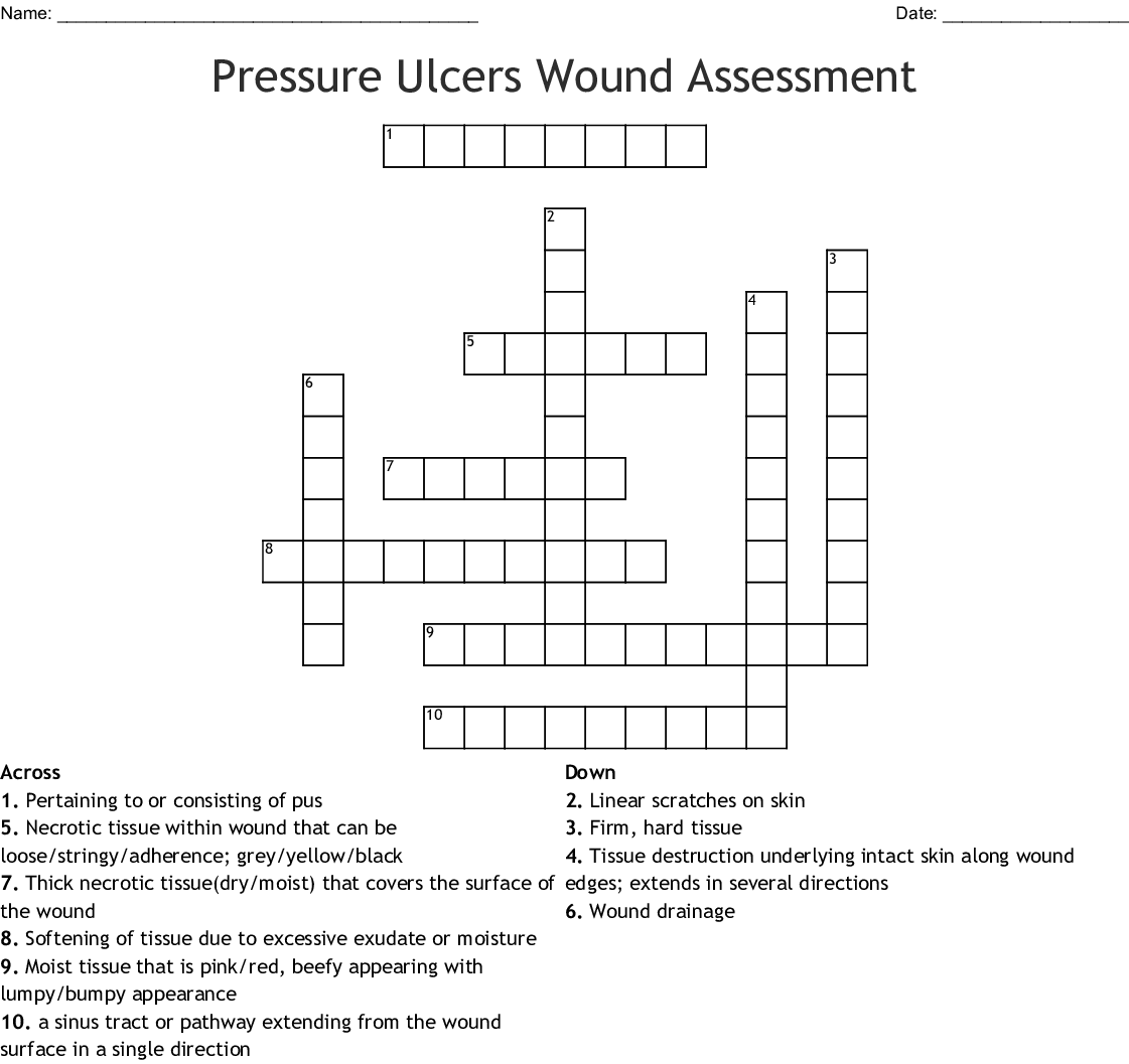 hight resolution of pressure ulcers wound assessment crossword