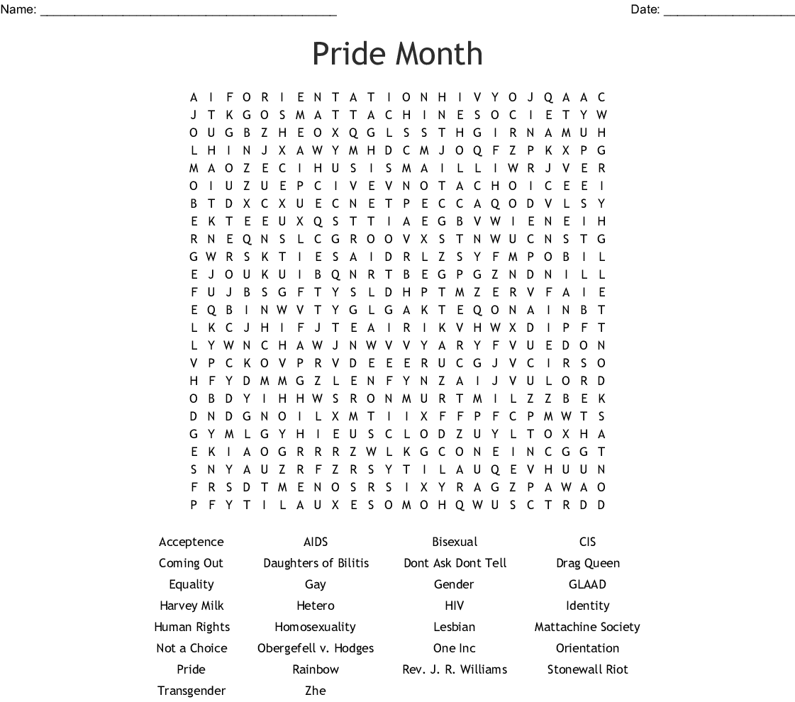 Lgbt Pride Word Search