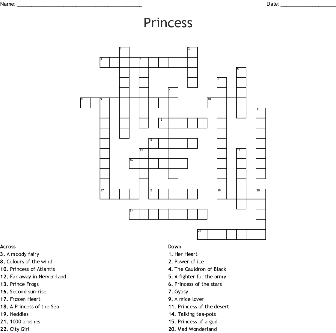 Princess Crossword