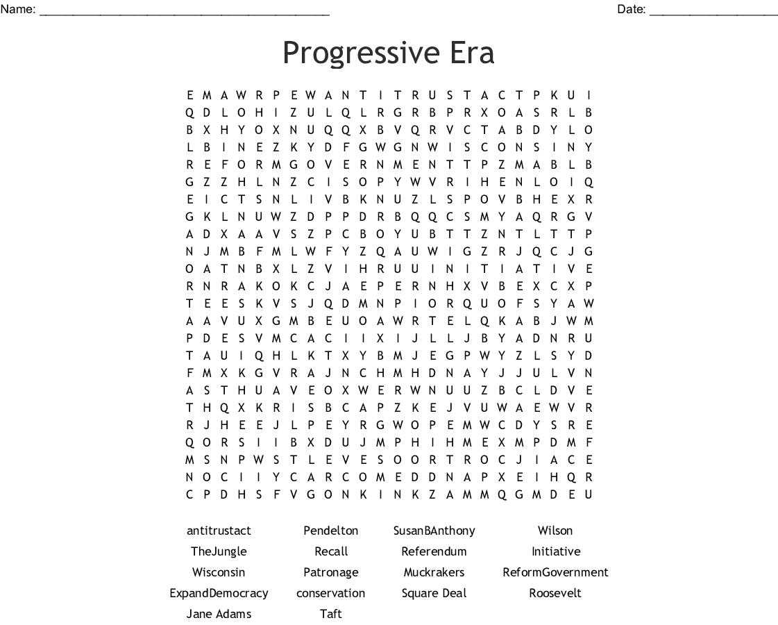 Progressive Era Word Search