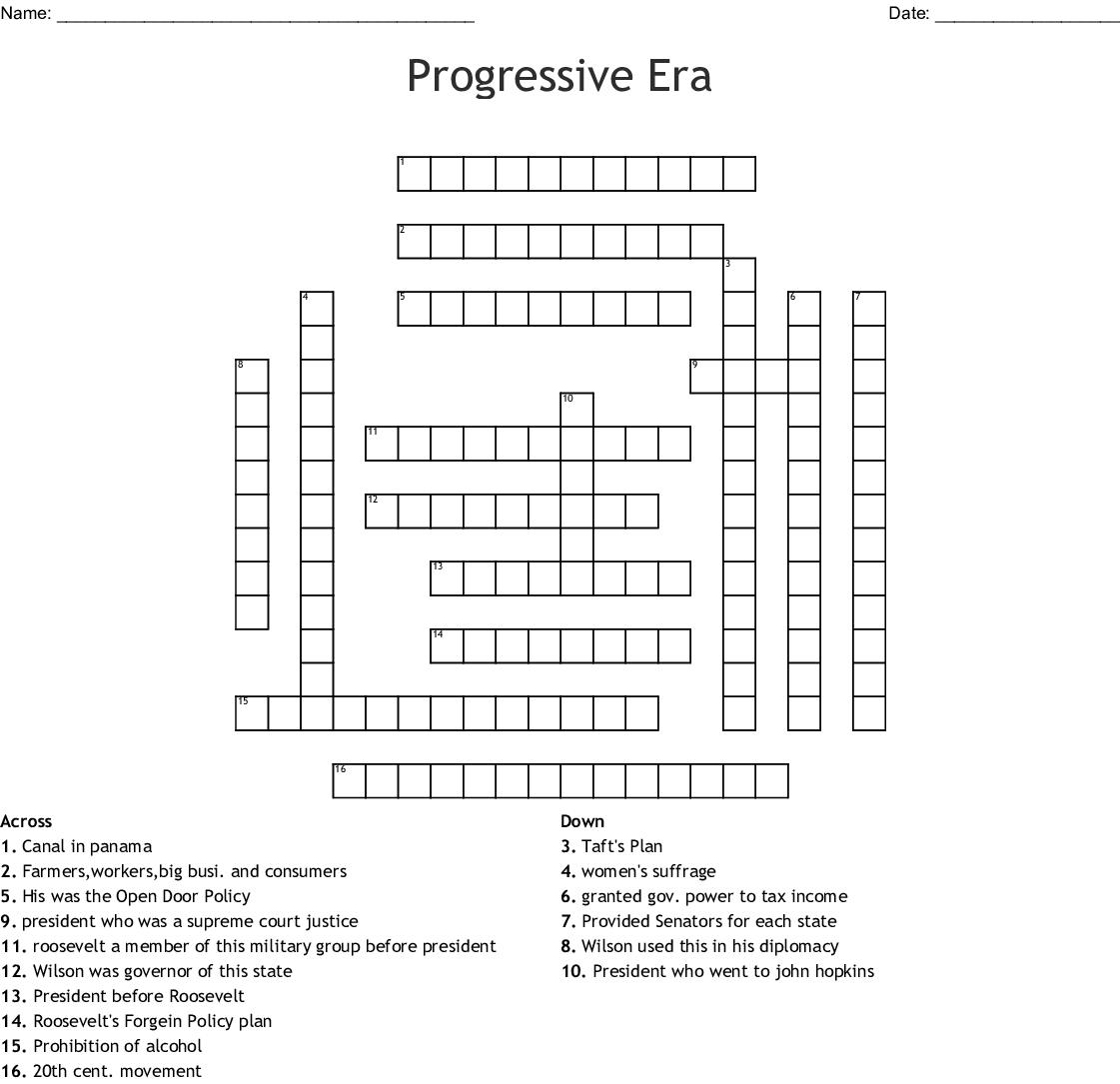 The Progressive Era Worksheet Answer Key