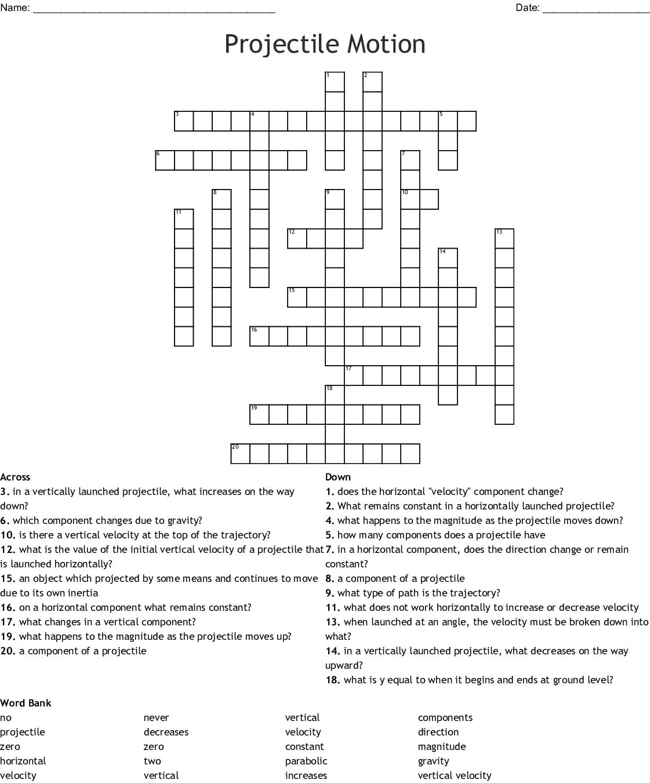 Projectile Motion Crossword Puzzle