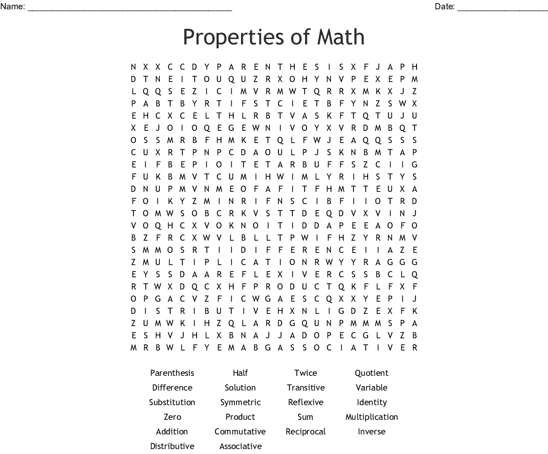 Properties Of Math Word Search
