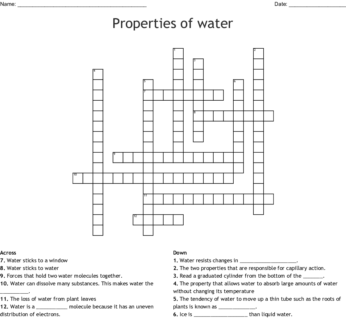 Properties Of Water Word Search