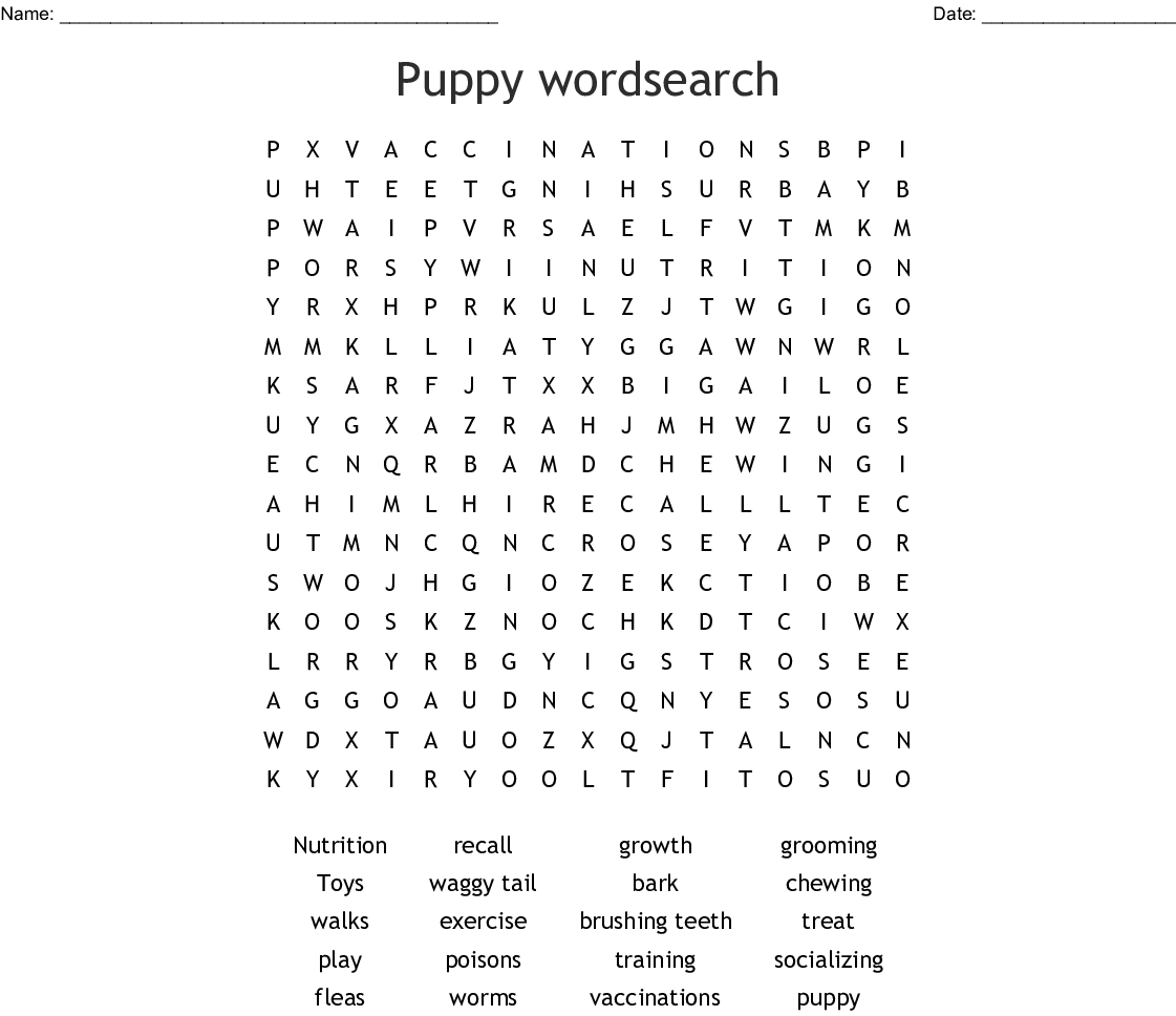 Puppy Wordsearch