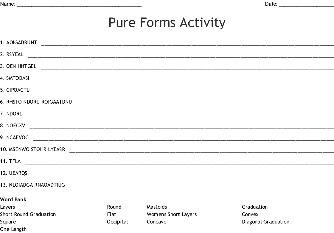Pure Forms Activity Word Scramble