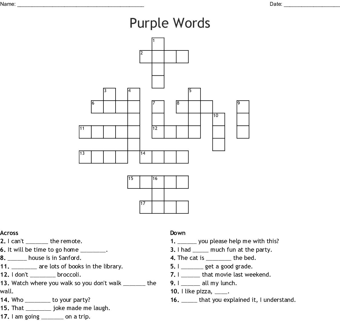 Purple Words Crossword