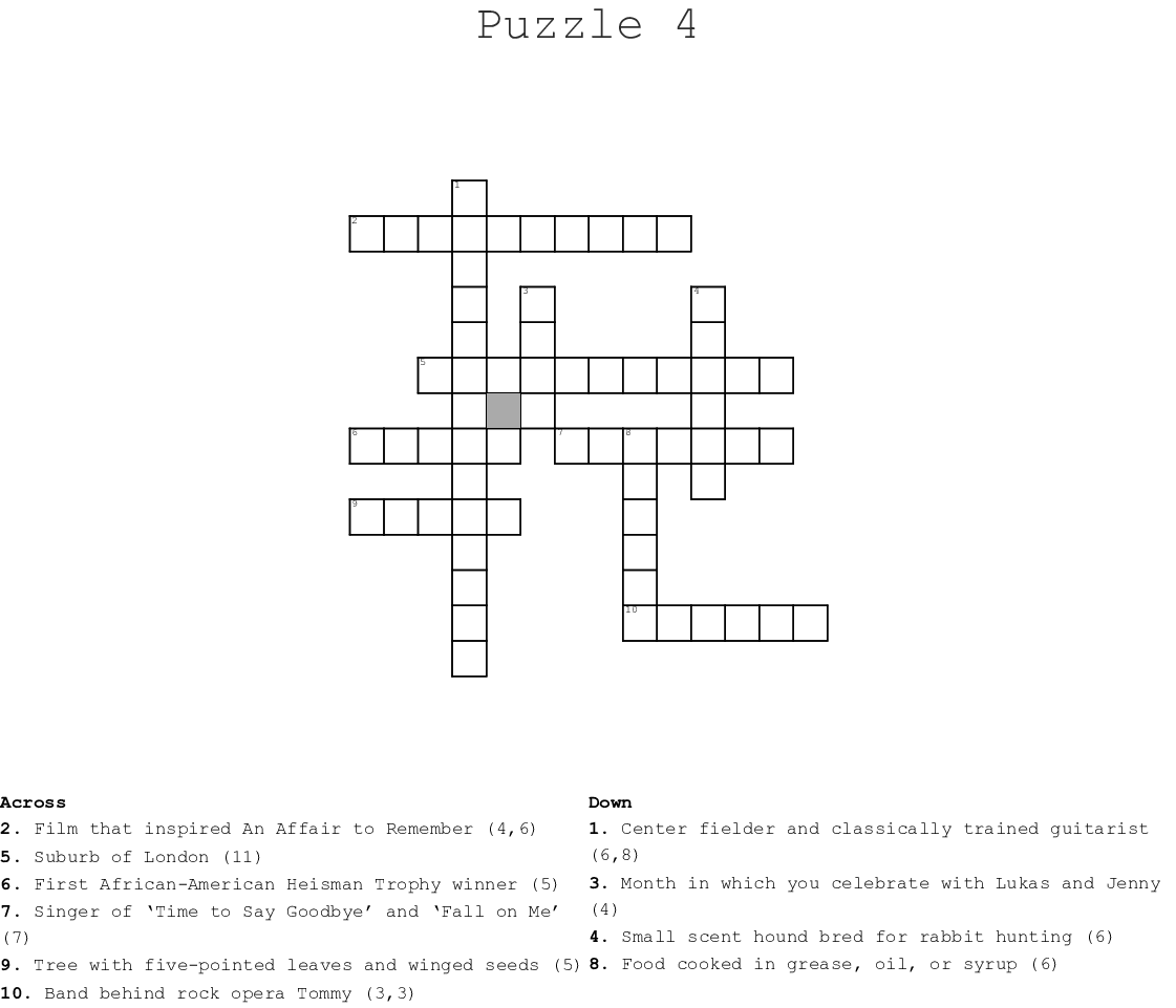 Puzzle 4 Crossword