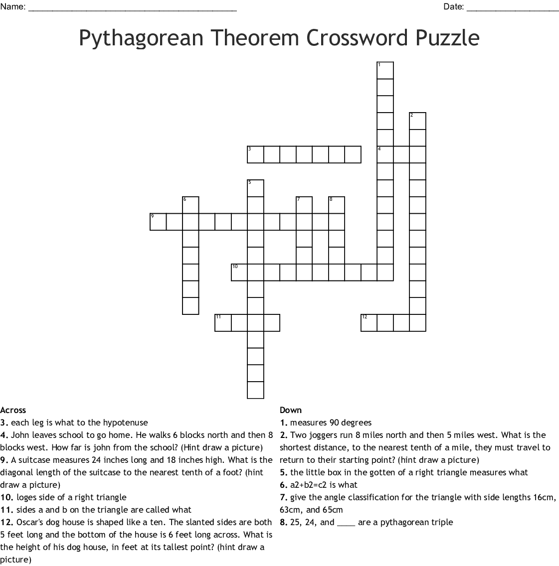 Pythagorean Theorem Crossword