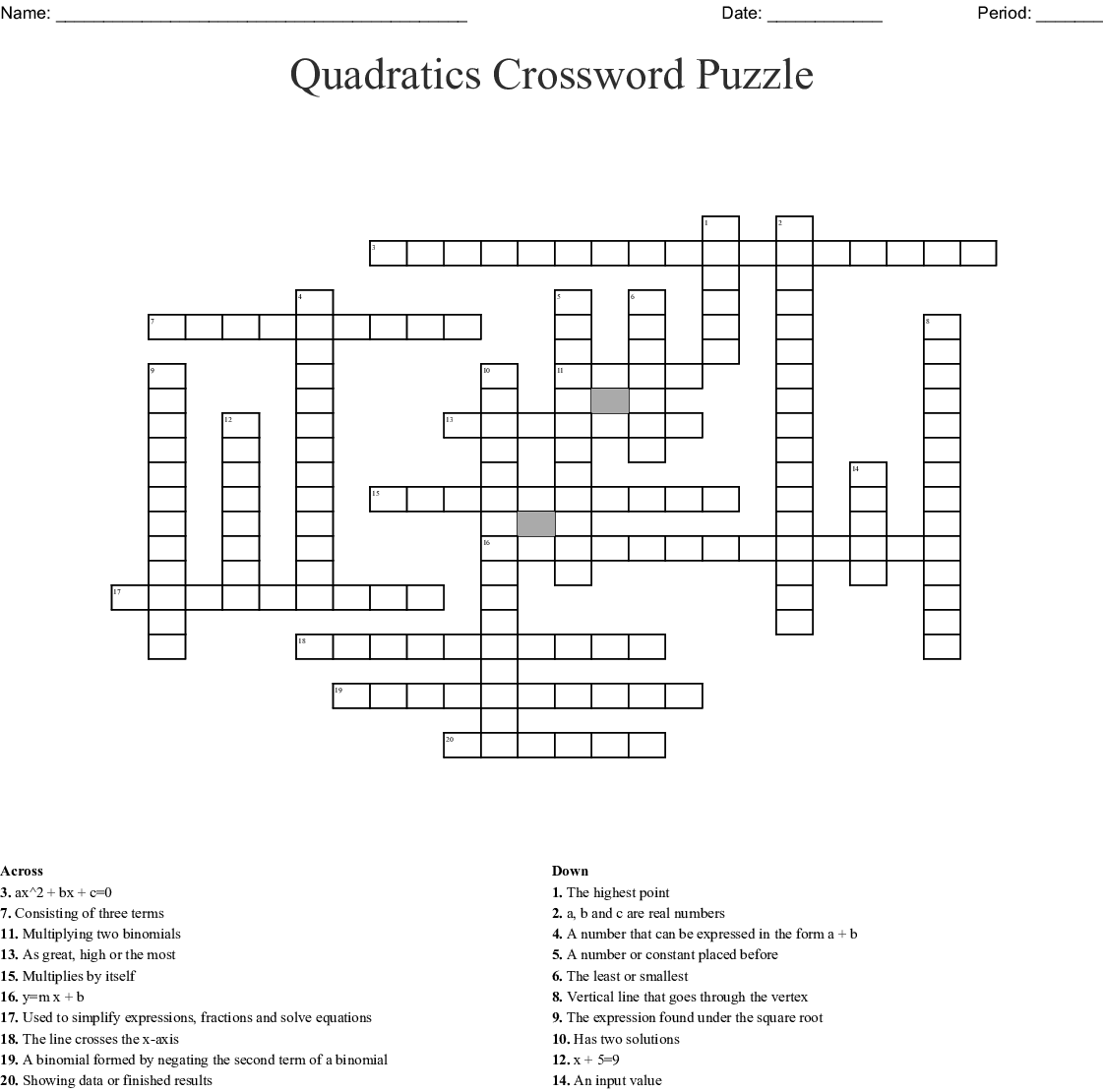 Quadratic Function Word Search Puzzle