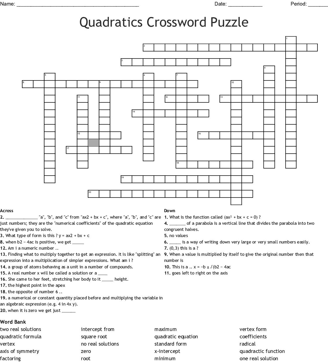 Quadratics Crossword Puzzle Crossword