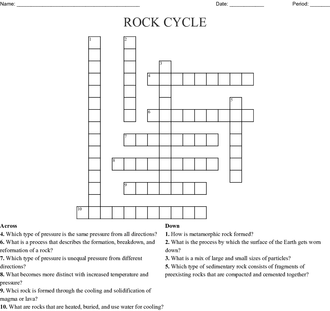 The Rock Cycle Word Search