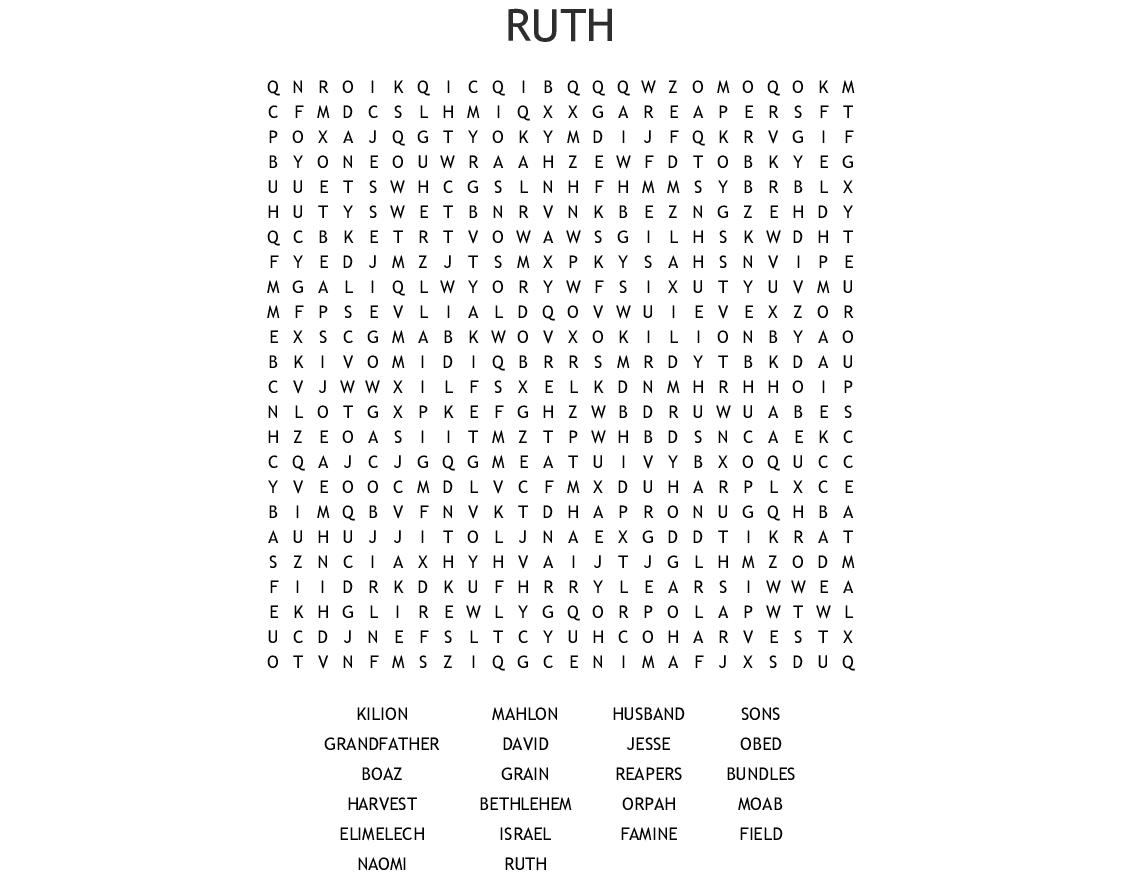Ruth And Naomi Word Search