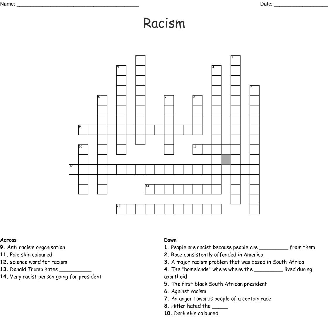 Racism Crossword