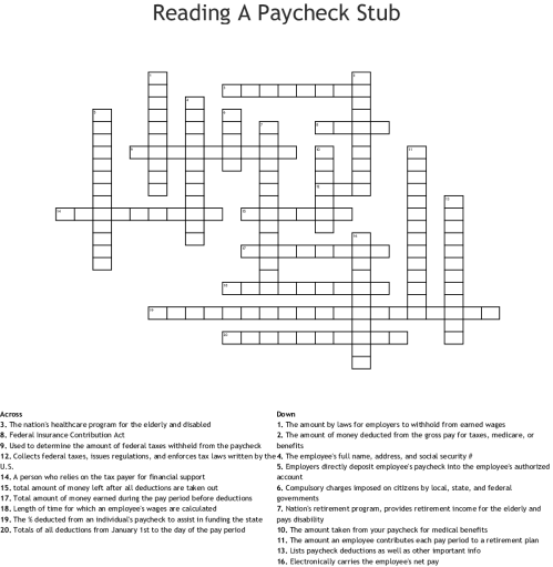 small resolution of reading a paycheck stub crossword