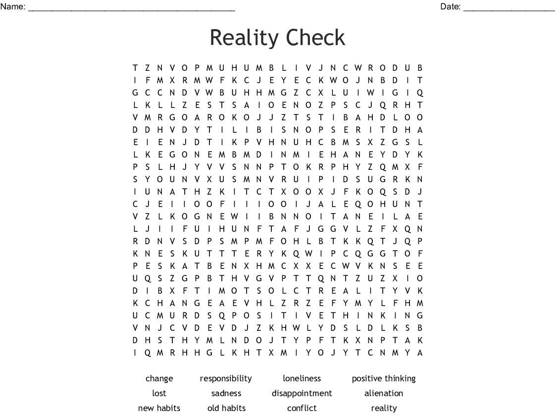 Reality Check Word Search
