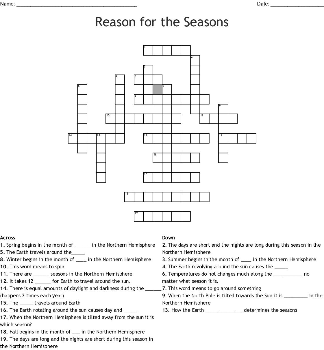 Reason For Season Word Search