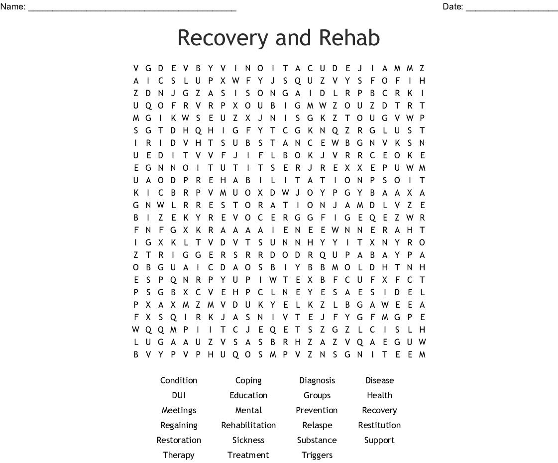 Recovery And Rehab Word Search