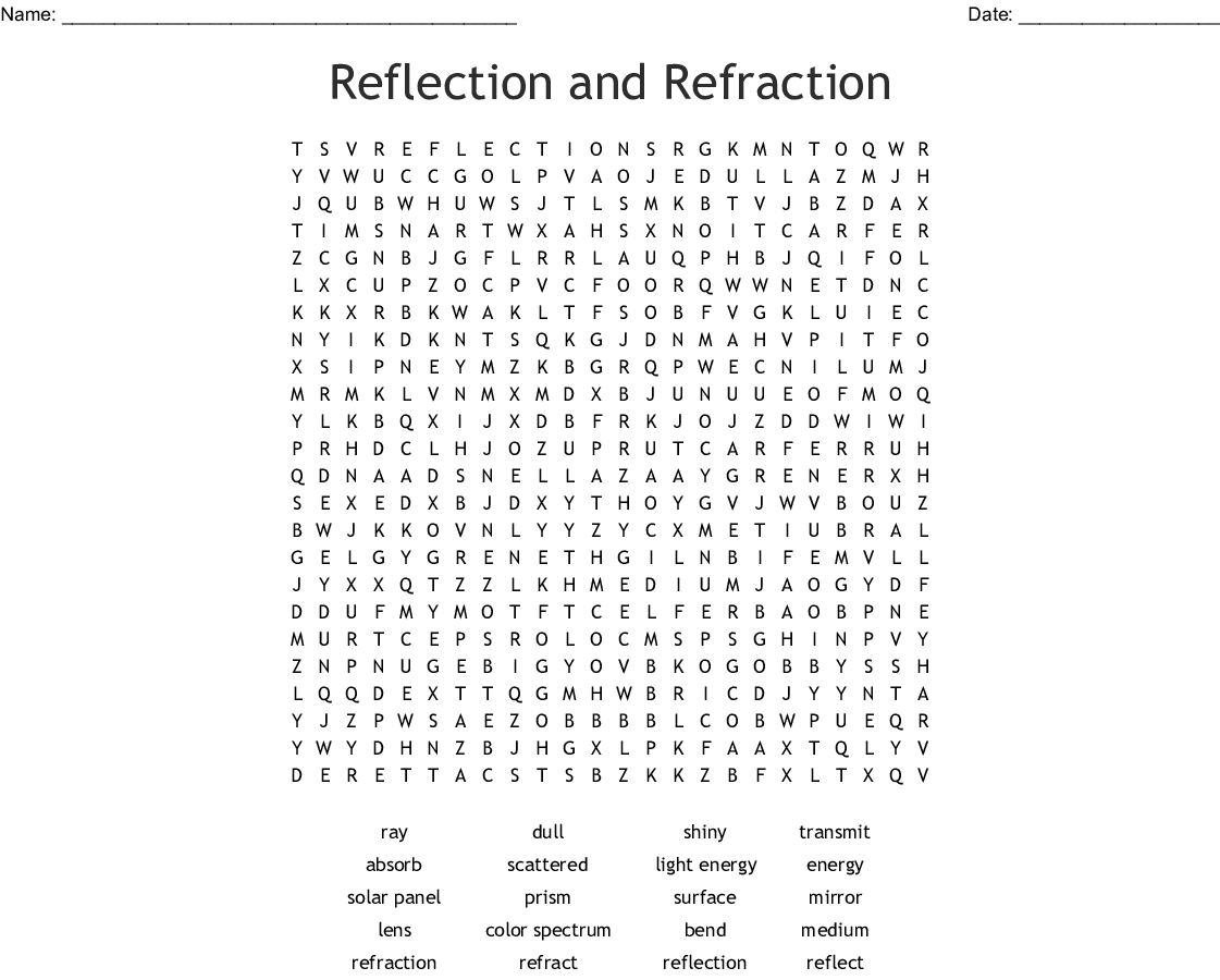 Reflection And Refraction Word Search