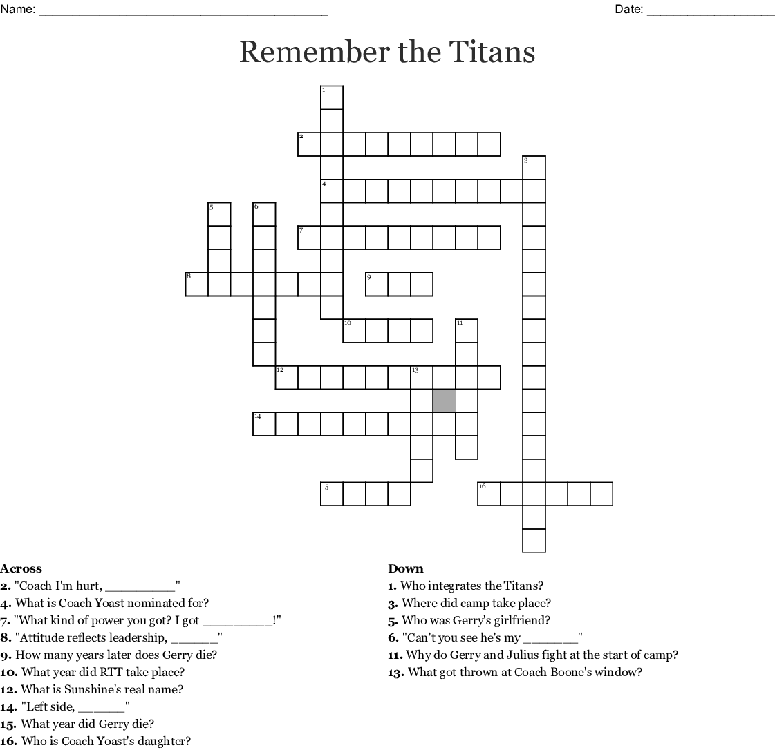 Remember The Titans Word Search