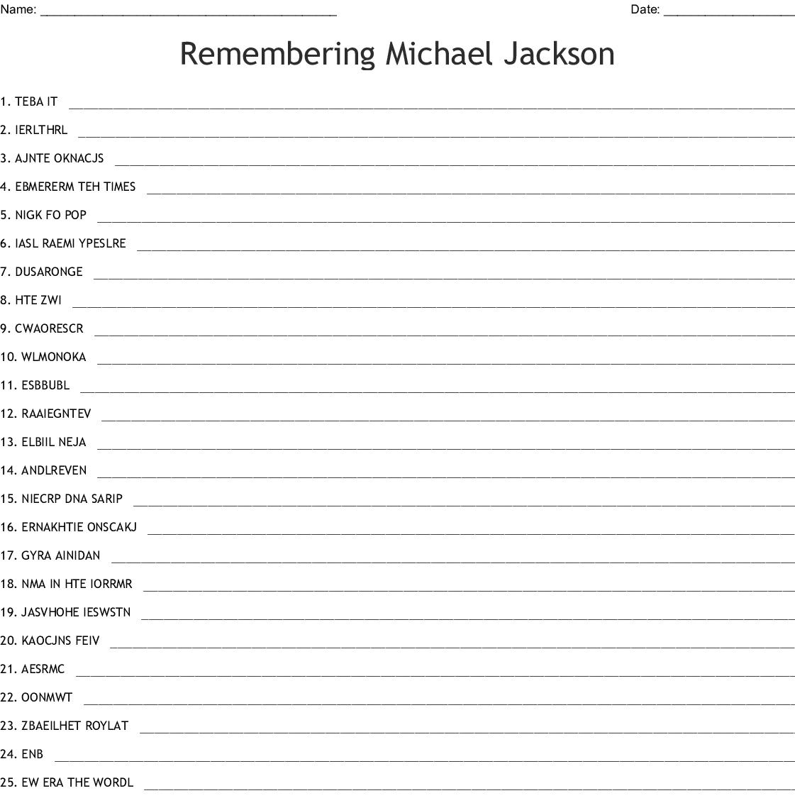 Michael Jackson Word Search