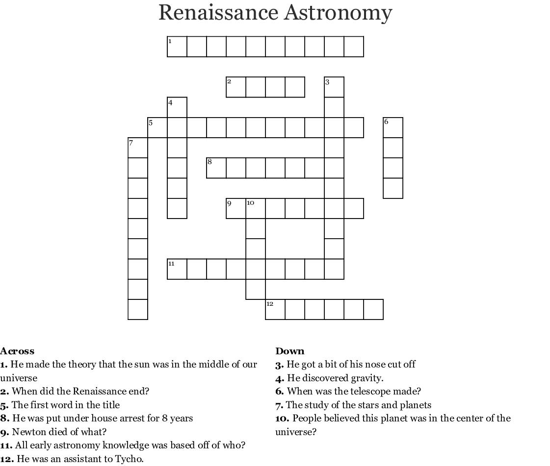 Renaissance Astronomy Crossword