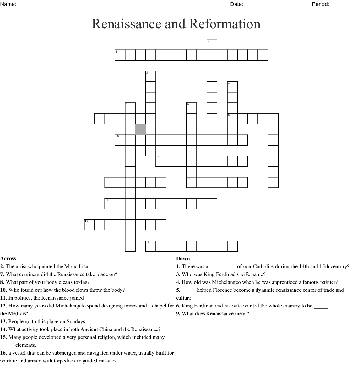 World History Worksheet Renaissance And Reformation