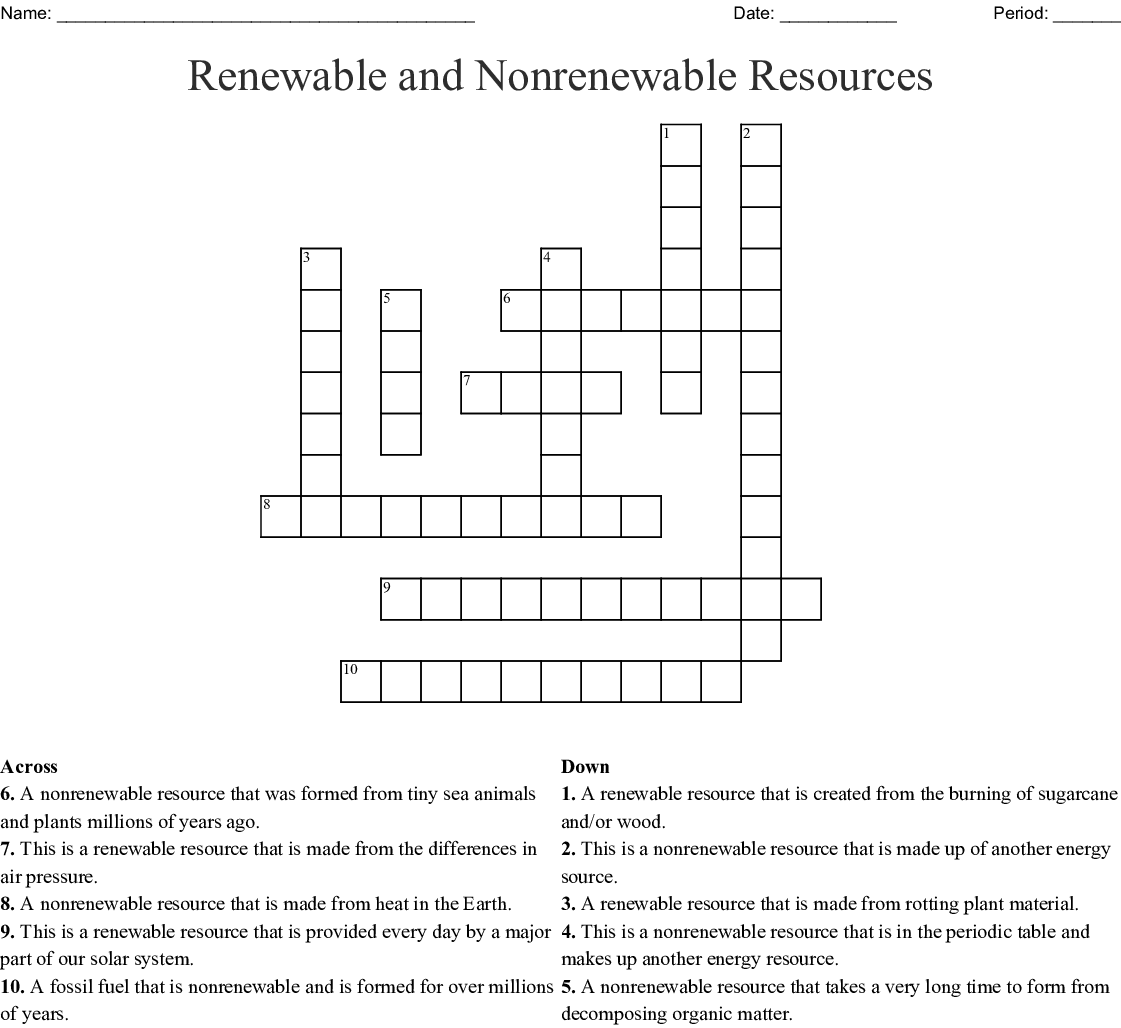 Printables Of Renewable And Nonrenewable Resources Worksheet Answer Key