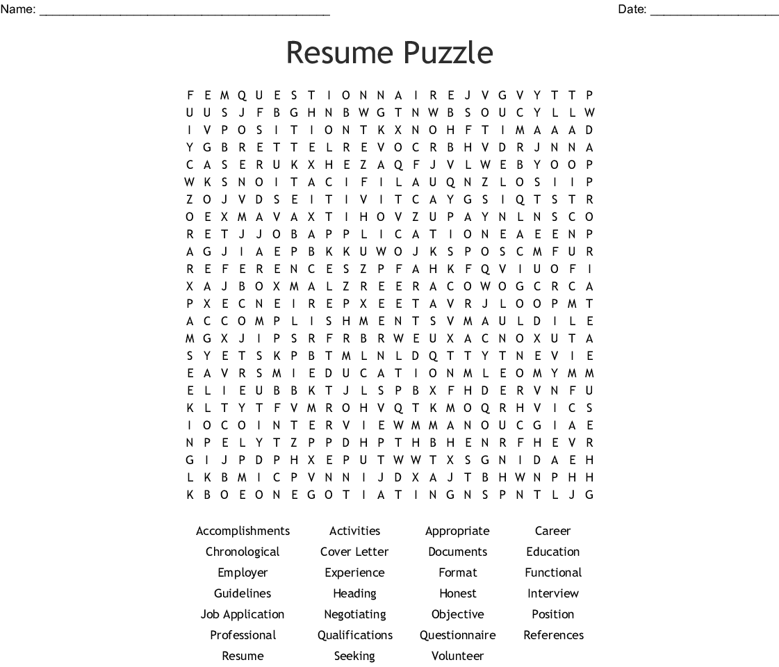 Resume Puzzle Word Search