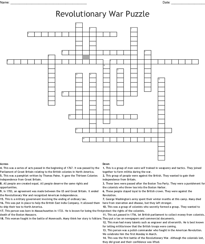 5th Grade Stu S Weekly Week 17 Crossword Answers