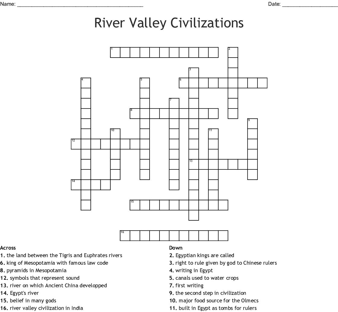 River Valley Civilizations Crossword