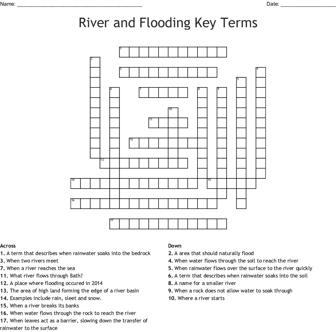 River And Flooding Key Terms Crossword