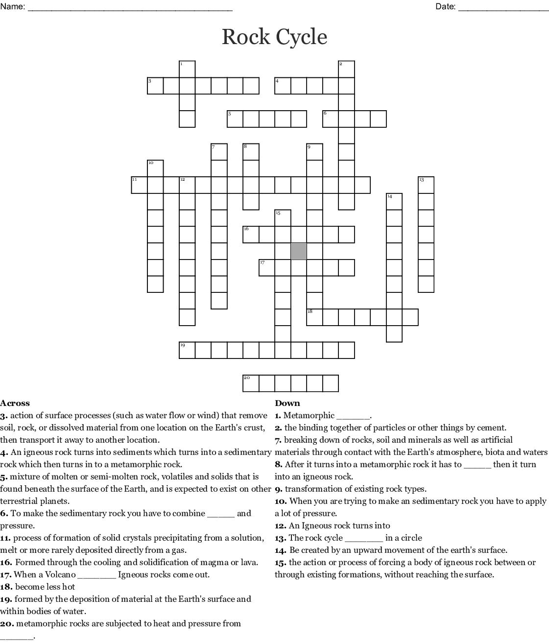 The Rock Cycle Crossword - WordMint