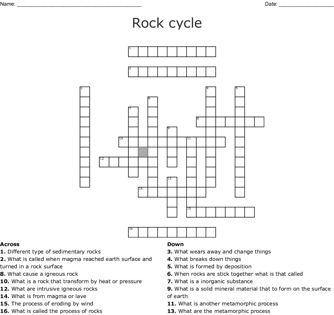 Rock Cycle In Earth S Crust Worksheet Answer Key