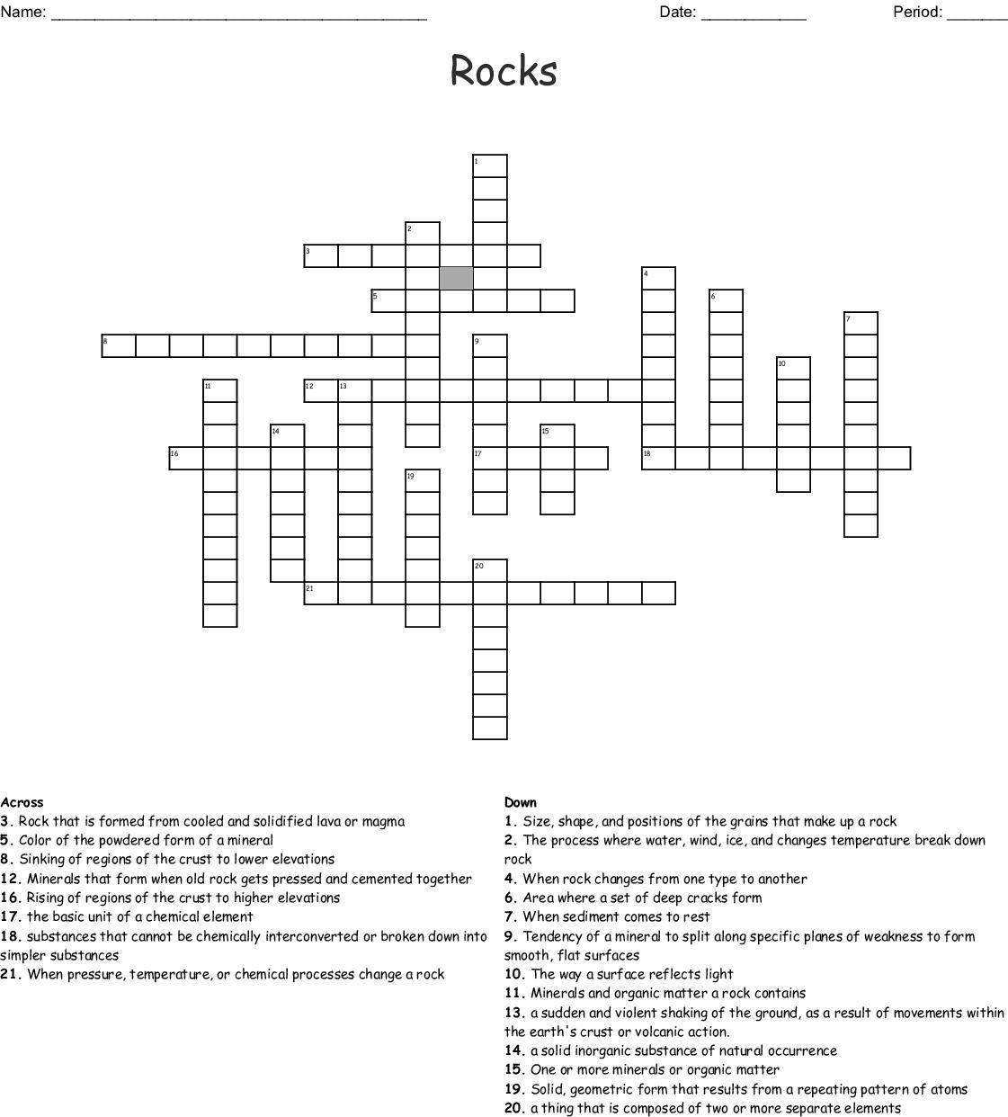 Minerals and Rocks Crossword - WordMint
