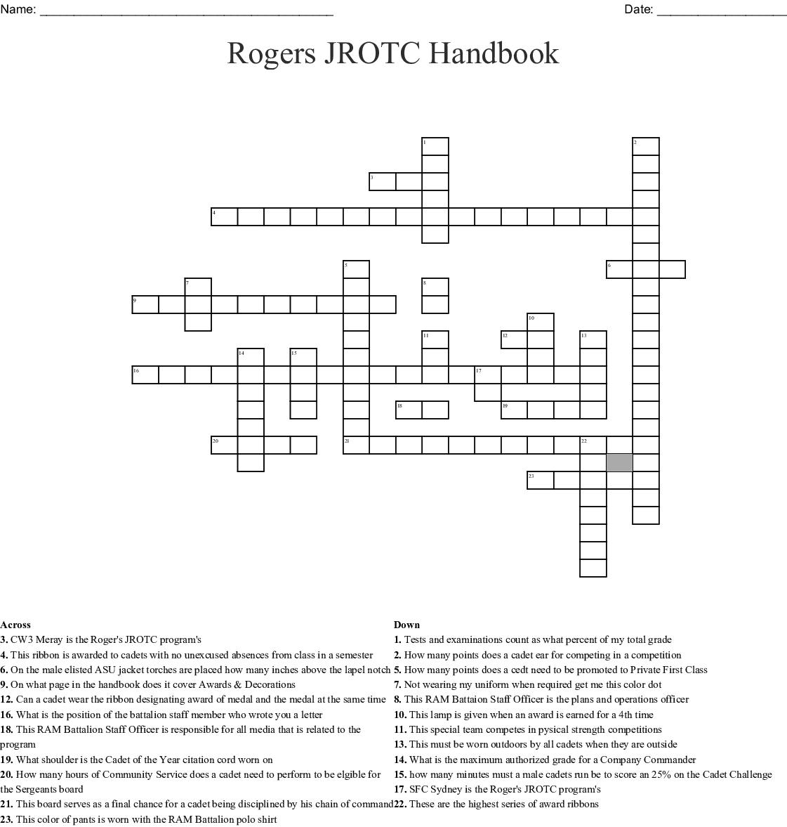 Rogers Jrotc Handbook Crossword
