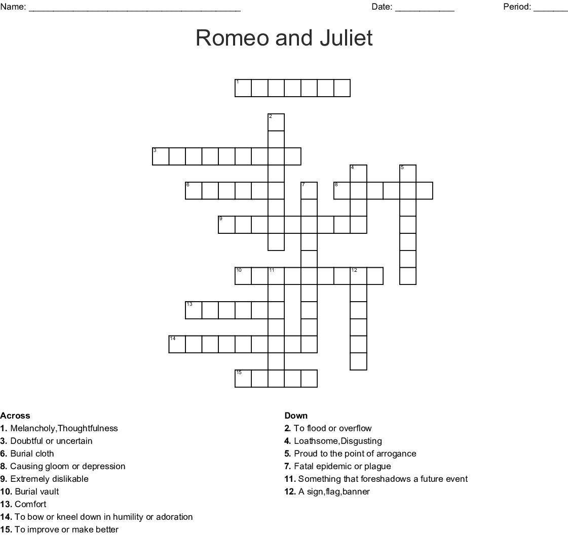 Romeo And Juliet Act 4 Vocabulary Crossword