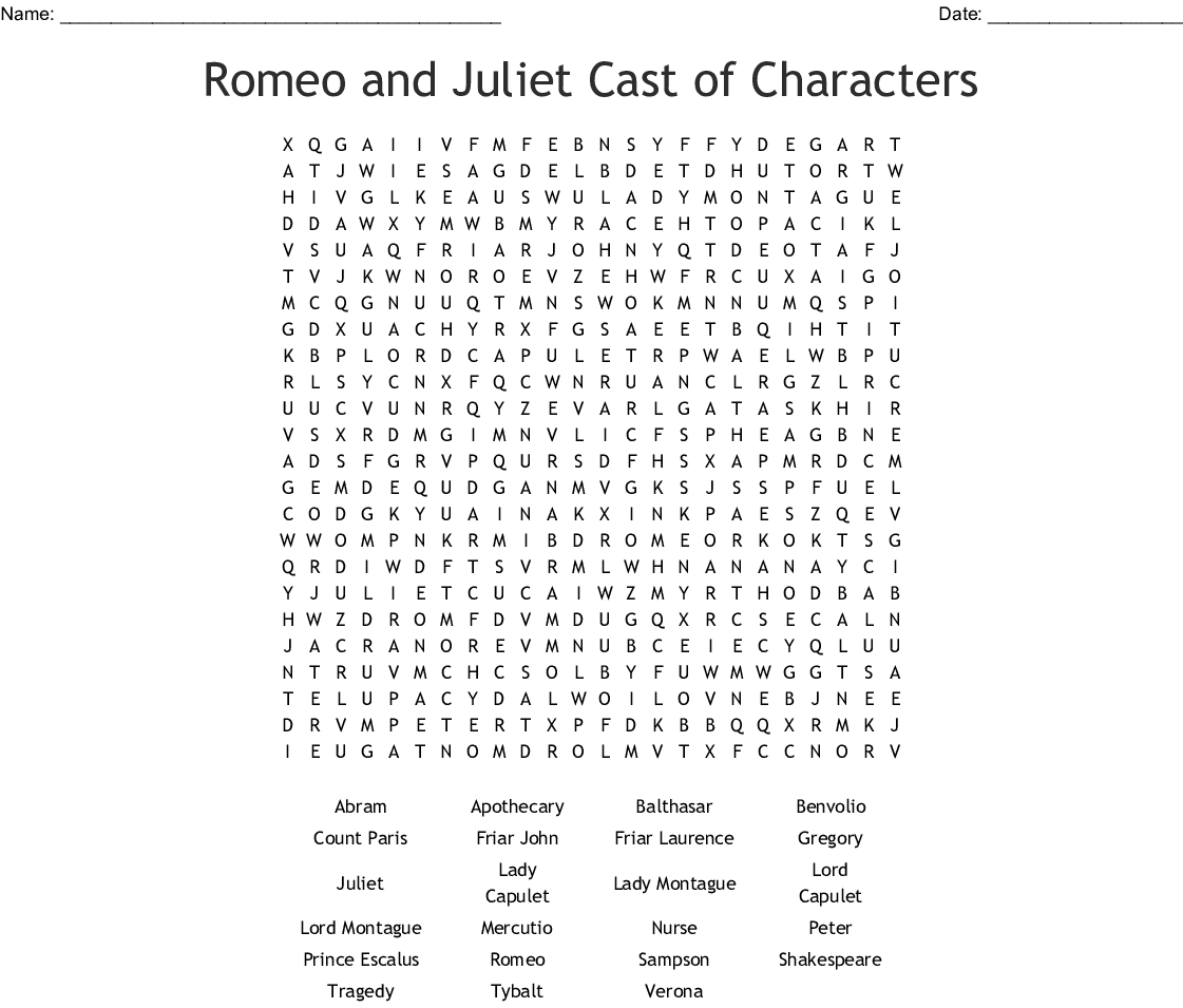 Romeo Amp Juliet Word Search