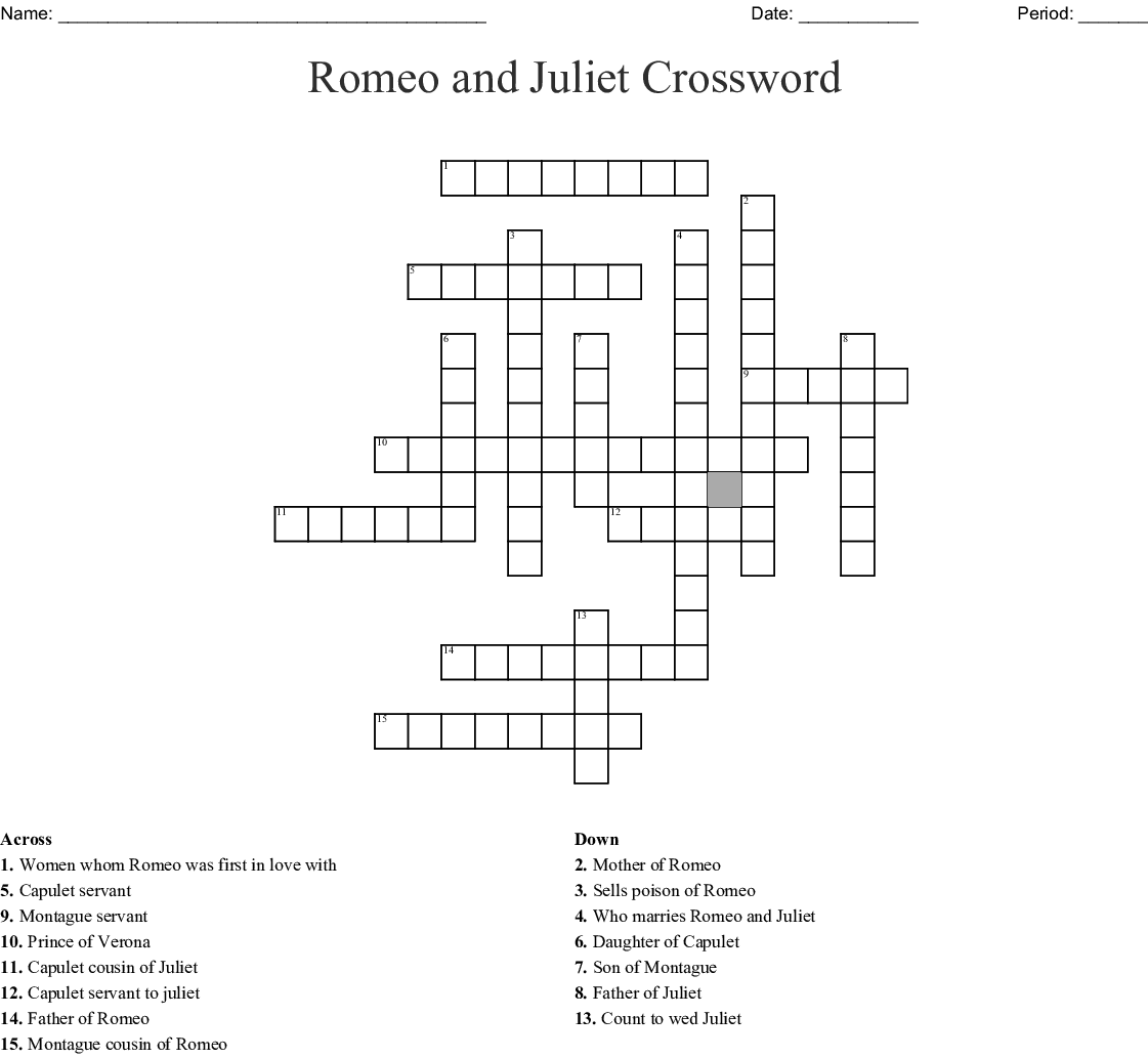 Romeo And Juliet Crossword