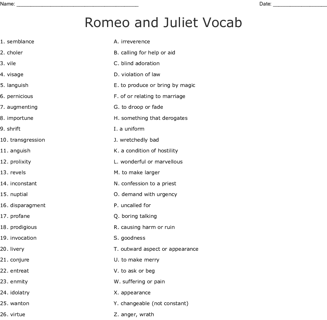 Romeo And Juliet Vocab Act 1 Crossword