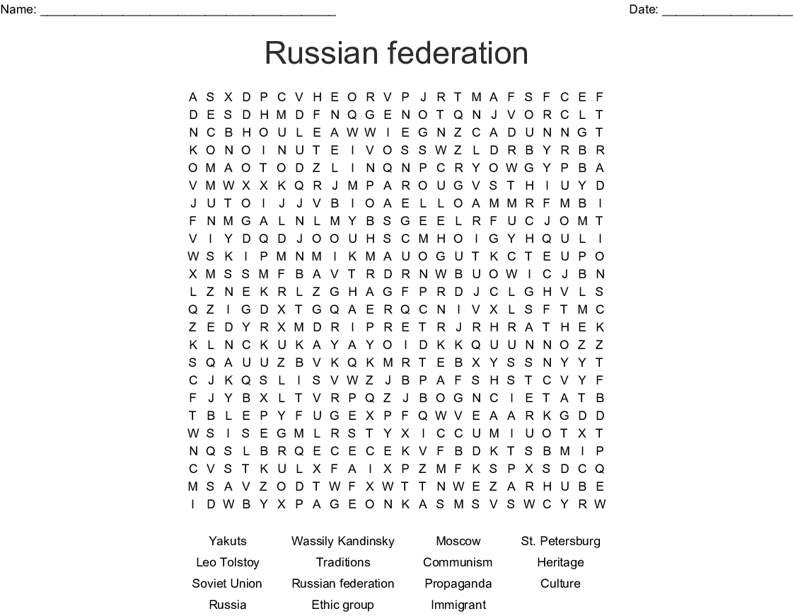Russia Wordsearch