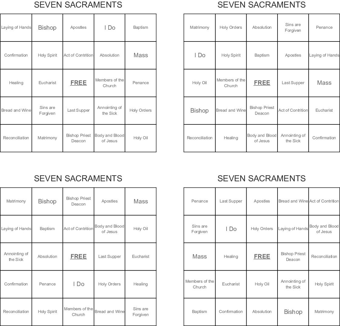 Seven Sacraments Bingo Cards
